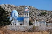 The domed church at Emborio cemetery on the Greek island of Halki.