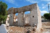 A derelict old stone building at Emborio on the Greek island of Halki.