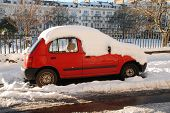 ST.LEONARDS-ON-SEA, ENGLAND - DECEMBER 3: Snow covers a car parked in Warrior Square on December 3,