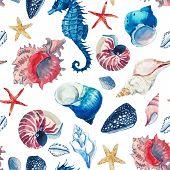 Beautiful Vector Seamless Pattern With Hand Drawn Watercolor Sea Animals Fish Shell Starfish poster