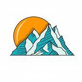 Mountain Logo, Hills Logo, Mountain Symbol, Mountain Icon, Mountain Logo Templat, Mountain Vector Ep poster