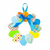 Craft Of Paper In The Form Of A Wreath Of Colorful Paper Eggs On White Background. Child Does Crafts poster