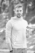 Refreshing Vitamin Drink After Outdoor Workout. Man Athletic Appearance Holds Water Bottle. Guy Athl poster