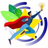 An Office Worker, A Superhero, Has A Good Idea. In Minimalist Style. Cartoon Flat Vector poster