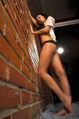 pic of underthings  - Young sexy woman against brick wall - JPG