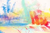 Abstract Splatter Watercolor Background, Colorful Paint Drops Ink Splashes Grunge Card Design. poster