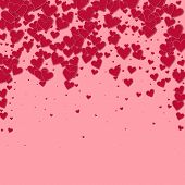 Red Heart Love Confettis. Valentine Day Falling Rain Charming Background. Falling Stitched Paper Hea poster