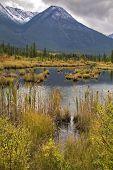 Lago superficial en el norte de Canadá y de la montaña en una nieve