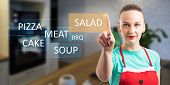 Woman Choosing Salad As Food On Invisible Display By Using Index Finger For Touching As Cooking And  poster
