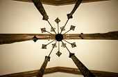 Feel The Creativity. Old Ceiling. Wood Beam Ceiling. Decorative Lamp Hanging From Ceiling. Classic O poster