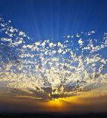 Grandiose sunset on coast of the southern sea