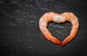 Seafood Two Shrimps Heart Shape / Cooked Shrimp Prawns On Dark Background - Valentines Dinner Romant poster