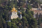 stock photo of church mary magdalene  - Golden domes of the Church of Mary Magdalene and cypresses - JPG