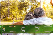 Happy Life And Long Lived Concept. At The End Of Life, Older Couple Sitting Together On Bench At A P poster