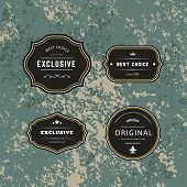 Set Dark Of Hipster Labels With Frames. Authentic Retro Vector Tags Design. Minimalistic Craft Beer  poster