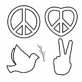 Outlined Hippie Peace Sign. Line Icons Set. poster