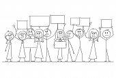 Cartoon Stick Figure Isolated Drawing Or Illustration Of Group Or Crowd Of Protesters Protesting Wit poster