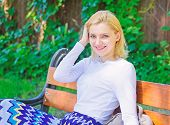 Peace And Tranquility. Why You Deserve Break. Woman Blonde Take Break Relaxing In Park. Girl Sit Ben poster