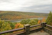 overlook of green, orange, red and yellow trees in fall in Allegheny National Forest