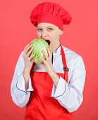 Eat Healthy. Girl Wear Hat And Apron Hold Vegetable. Healthy Nutrition. Woman Professional Chef Hold poster
