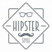 Men Hipster Style Logo. Simple Illustration Of Men Hipster Style Logo For Web Design poster