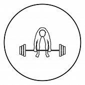 Muscular Man Weightlifter Doing Raising The Barbell Sportsman Raising Weights Silhouette Icon Black  poster