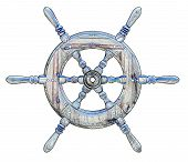 foto of ship steering wheel  - Illustration of a ships wheel over a white background - JPG