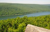 Allegheny National Forest and reservoir   from a rock outcropping