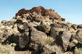 Citadel Pueblo, red and black volcanic stone ruins