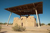 Casa Grande Ruins National Monument adobe ruins and protective overhang