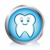 A happy tooth button.