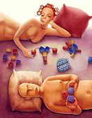 illustration of naked couple in bed playing with bricks