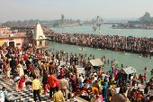 HARIDWAR, INDIA - JANUARY 14: Puja ceremony on the banks of Ganga river. People celebrate Makar Sank
