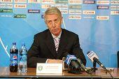 TOMSK, RUSSIA - APRIL 5: Valery Nepomnyashchiy - head coach of FC Tom (Tomsk), at a press conference
