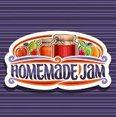 Vector Logo For Homemade Jam, Cut Paper Retro Signage With 2 Home Made Containers Covered Checkered  poster