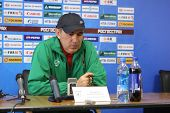 TOMSK, RUSSIA - SEPTEMBER 20: Kurban Berdyev - head coach of FC Rubin (Kazan), at a press conference after the match Tom'(Tomsk) - Rubin (Kazan), September 20, 2009 in Tomsk, Russia.