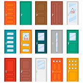 Colorful Front Doors To Houses And Buildings Set In Flat Design Style. Set Of Color Door Icons, Vect poster