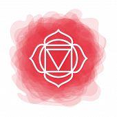 Muladhara Icon. The First Root Chakra. Vector Red Smoky Circle. Line Symbol. Sacral Sign. Meditation poster
