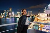 Business Woman Smile On Ship Board At Night In Miami, Usa. Sensual Woman In Suit Jacket On City Skyl poster