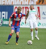 MOSCOW - MAY 10: CSKA's Keisuke Honda (L) in action during their team's Russian football championshi