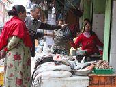 KATHMANDU, NEPAL - JANUARY 3: Street trade in fish, January 3, 2009 in Kathmandu, Nepal.