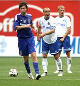 MOSCOW - JULY 3: Dinamo's midfielder Dmitry Hohlov (center) in the VTB Lev Yashin Cup: FC Dynamo Mos
