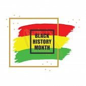 Golden And Black History Month Colorful Emblem Banner Design Element On White Background poster