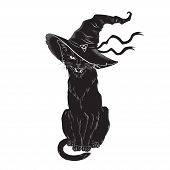 Black Cat With Pointy Witch Hat Line Art And Dot Work. Wiccan Familiar Spirit, Halloween Or Pagan Wi poster