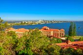 Aerial View Of South Perth Suburb From Kings Park And Botanical Garden On The Swan River, Western Au poster