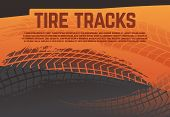 Tire Tread Tracks Background. Grunge Racing Tire Road Marks. Abstract Motorcycle Rally Vector Poster poster