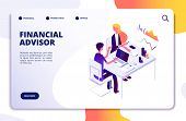 Financial Advisor Isometric Concept. Business Data Analysis With Professional Team. Money Investment poster