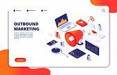 Outbound Marketing. Seo Pr Roi Crm Online Communication. Social Media Promotion Landing Vector Webpa poster