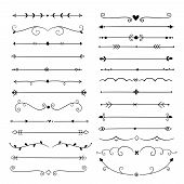 Hand Drawn Dividers. Line Design Elements Vintage Borders. Calligraphic Ornate Decoration. Retro Div poster