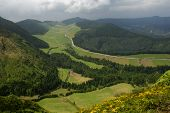 view from above of Sete Cidades, in azores island of Sao Miguel